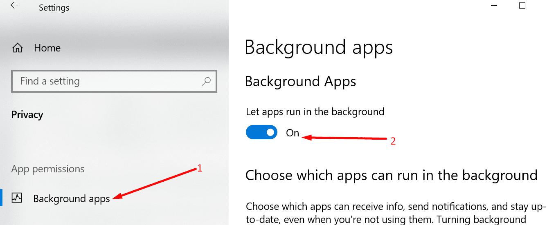 dejar que las aplicaciones se ejecuten en el fondo de windows 10