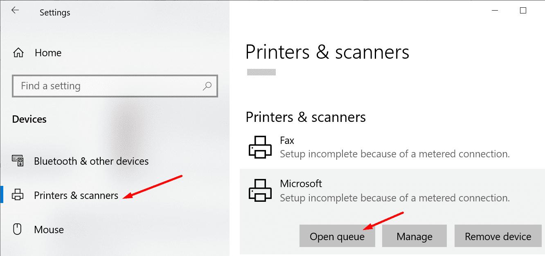Cola de impresión abierta