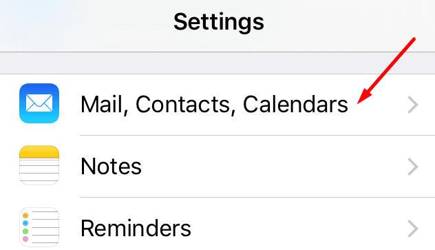 Calendario para contactos de correo electrónico de iPhone