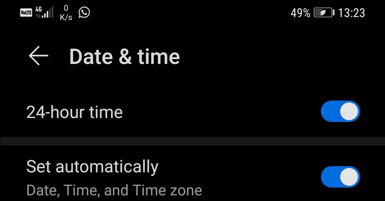 Configuración de fecha y hora de Android