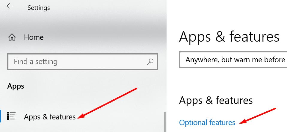 Agregar funciones opcionales a Windows 10