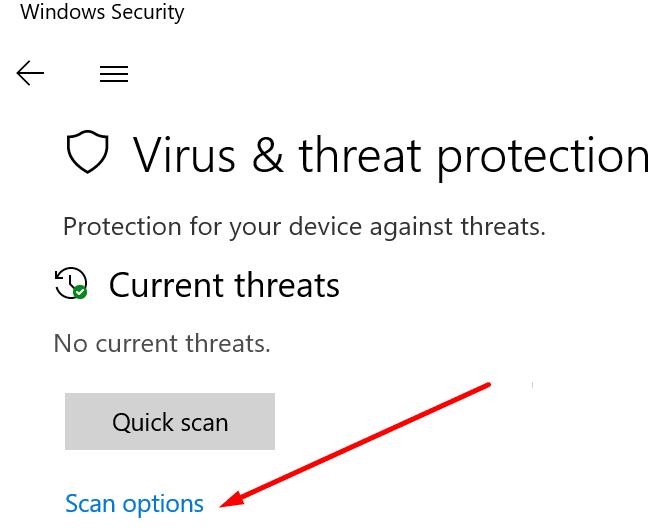 Opciones de análisis de protección contra virus y amenazas