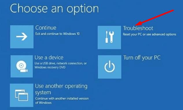 Solución de problemas de opciones avanzadas de Windows 10