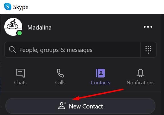 Agregar un nuevo contacto de Skype