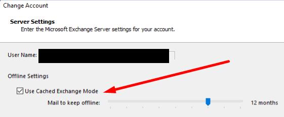 Modo de intercambio en caché de Outlook
