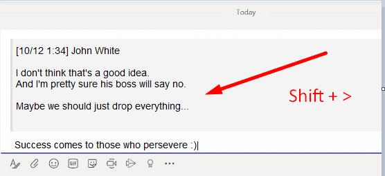 Mensaje de cotización Microsoft Teams