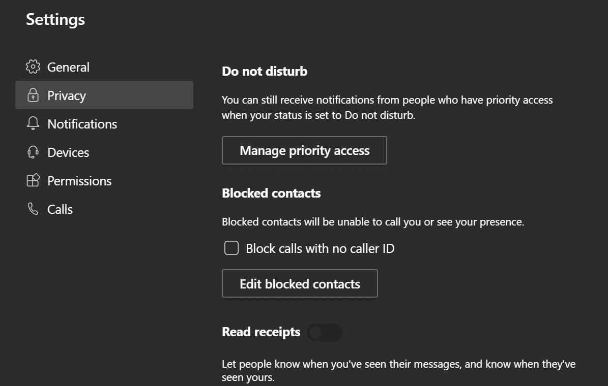 Configuración de privacidad para equipos de Microsoft