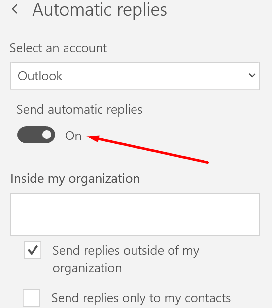 Configuración de respuesta automática de Outlook