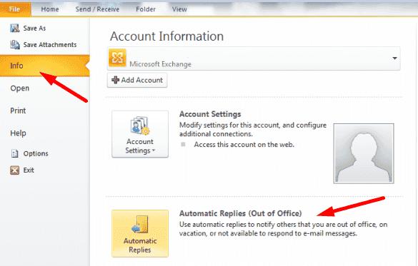 Respuestas automáticas fuera de Outlook
