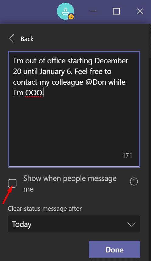 Mensaje de ausencia de Microsoft Teams
