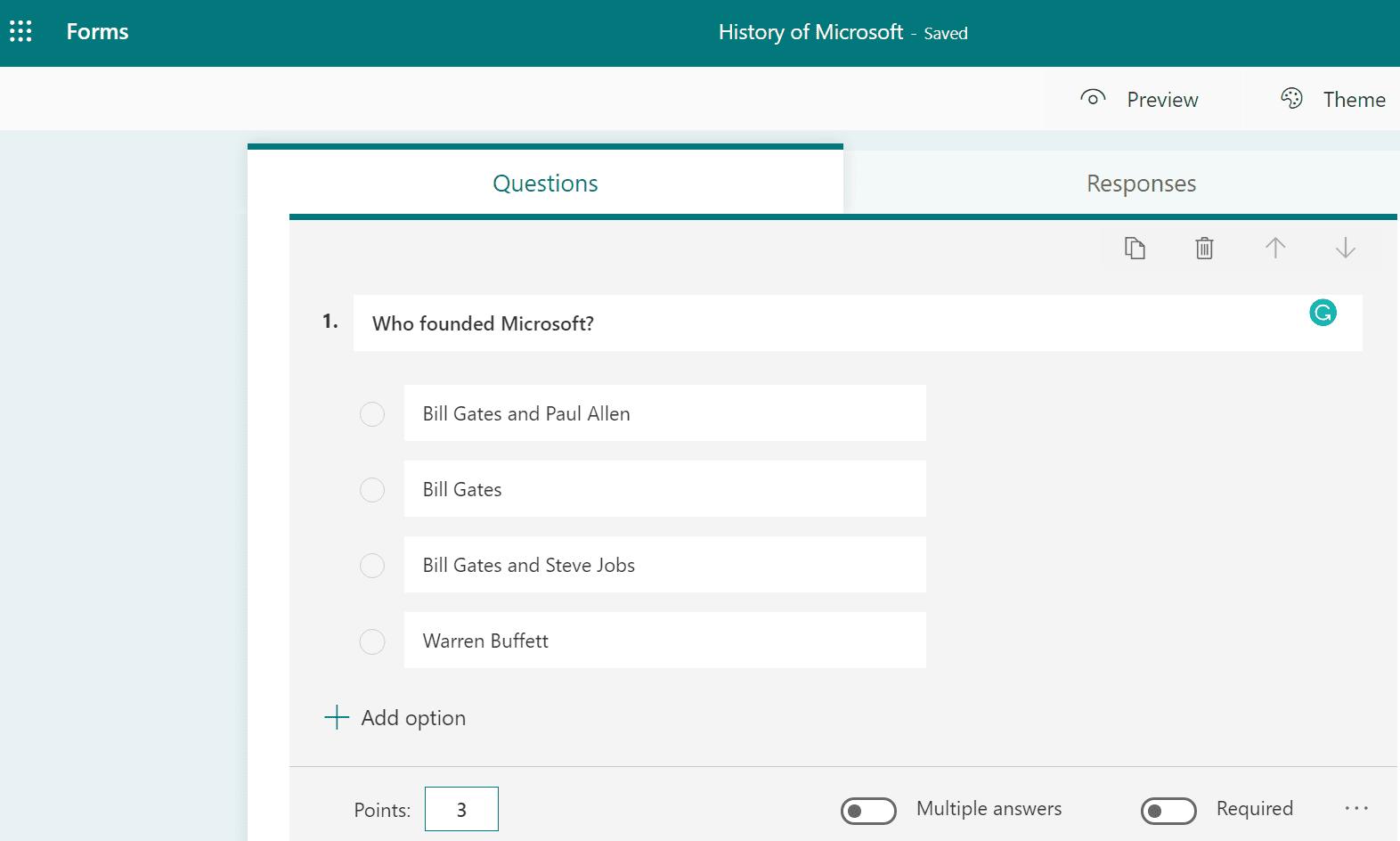 Preguntas de trivia de Microsoft Forms