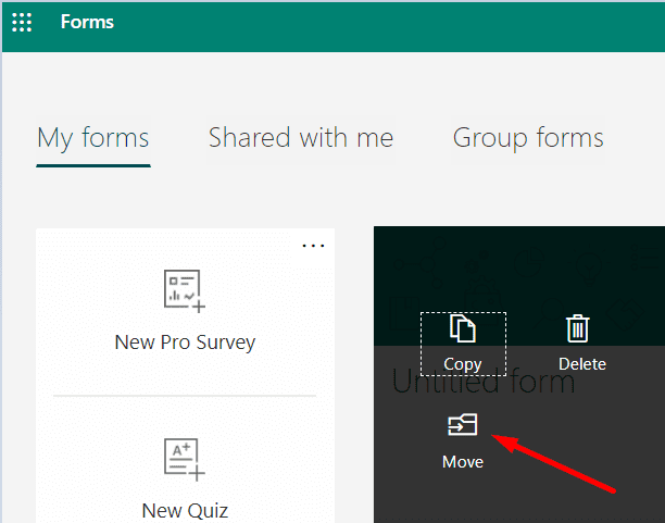 Mover la opción Microsoft Forms