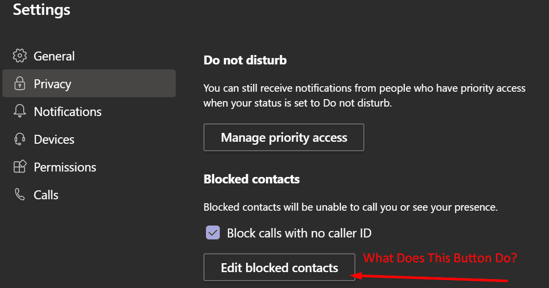 Editar contactos bloqueados Microsoft Teams