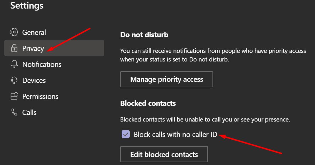 Los equipos de MS bloquean las llamadas sin un identificador de llamadas