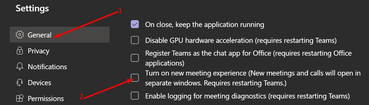 Desactivar nuevas experiencias de reunión para MS Teams