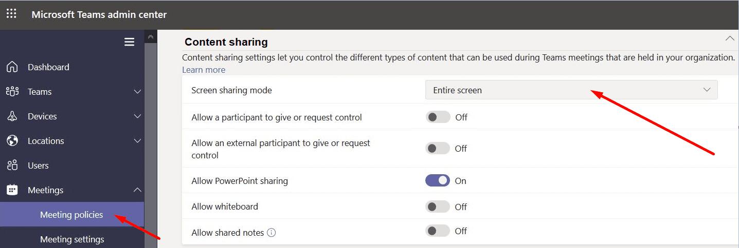 Configuración para el modo de compartir pantalla de MS Teams
