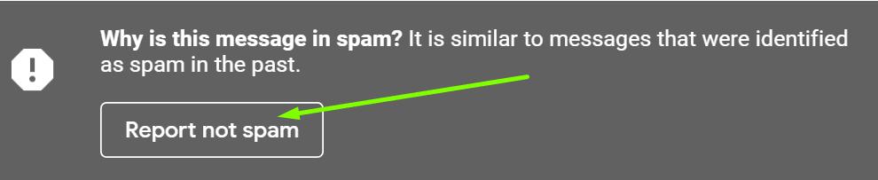 El informe de Gmail no es spam
