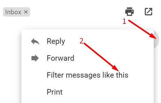 Filtrar mensajes como este Gmail