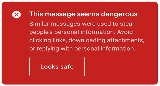 Gmail: este mensaje parece peligroso