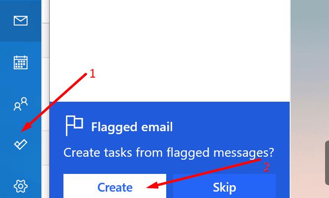 Cree tareas desde la aplicación Outlook para correos electrónicos destacados