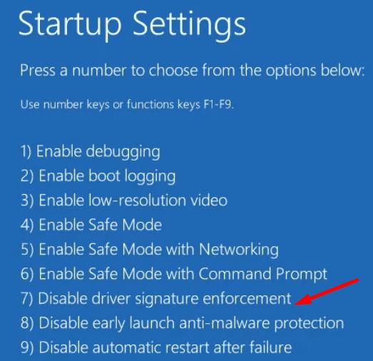Deshabilitar la aplicación de la firma del controlador de Windows 10