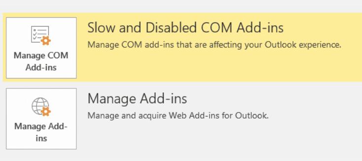 Outlook administrar complementos
