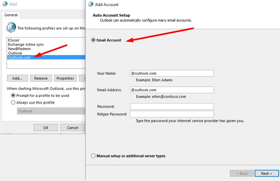 Agregar el registro de intercambio de cuentas de Outlook.com