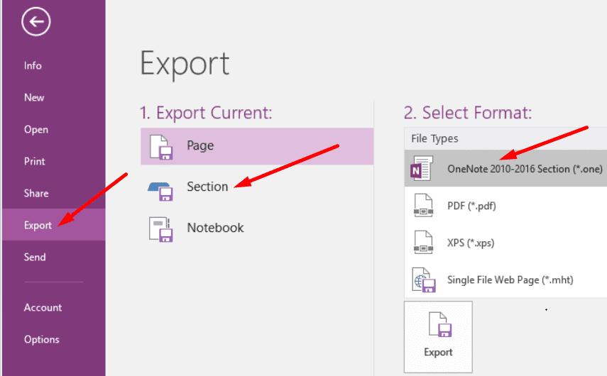 Exportar una sección