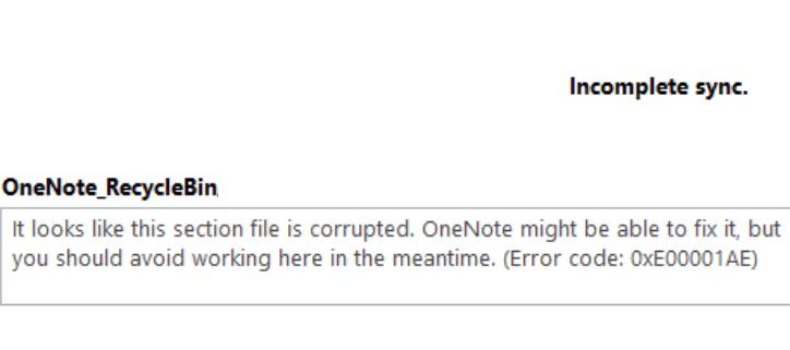 Código de error de OneNote 0xE00001AE: cómo solucionarlo