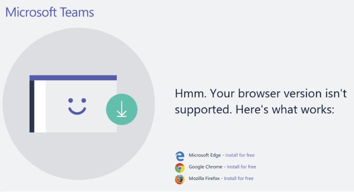 Reparar el navegador de Microsoft Teams no es compatible