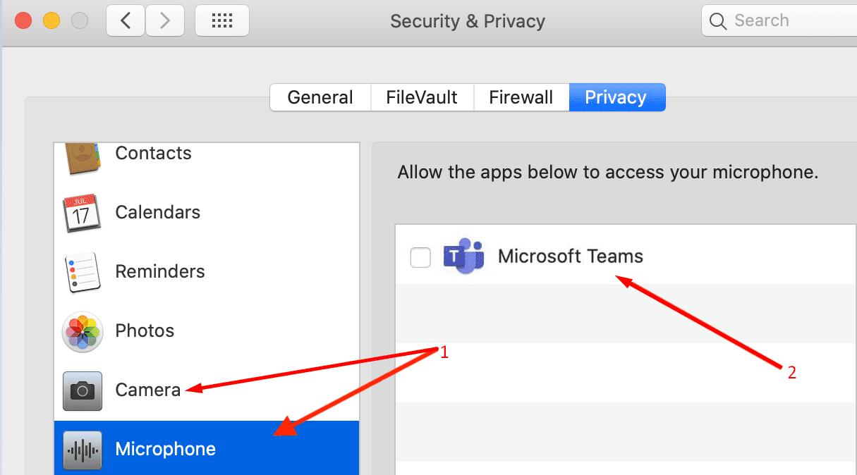 Configuración de privacidad de Mac Microsoft Teams