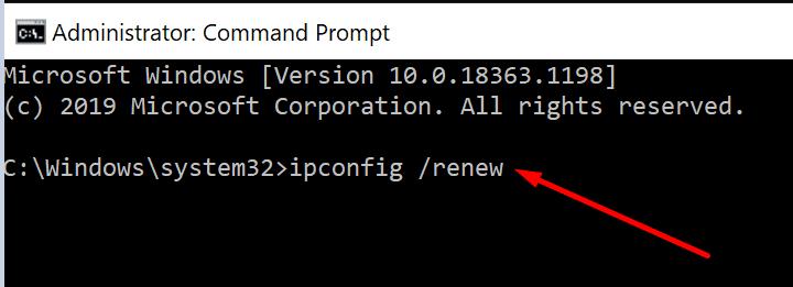 Actualizar la dirección IP cmd