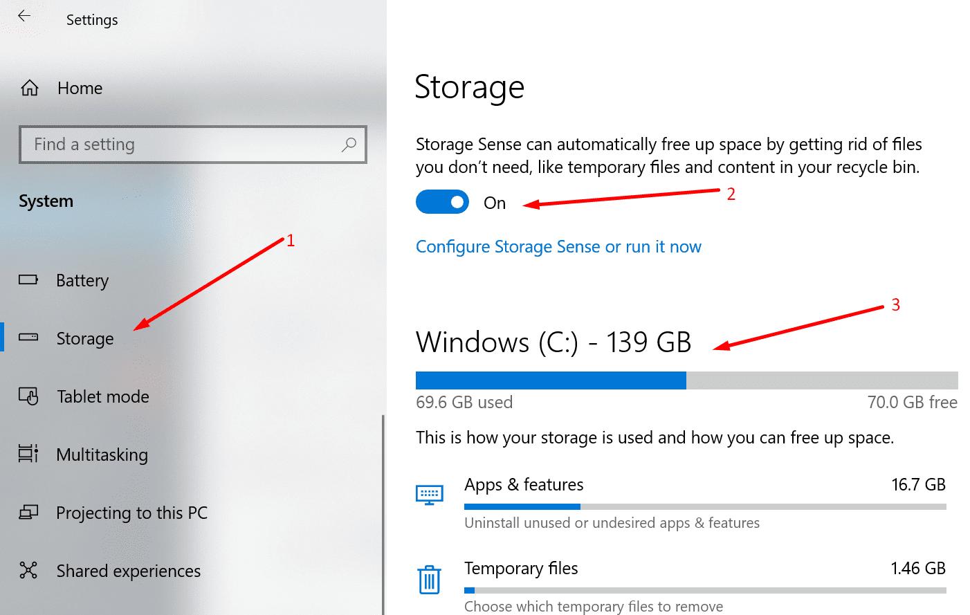 Habilitar Storage Sense Windows 10
