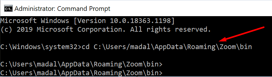 Ejecute el convertidor de video zoom desde el símbolo del sistema