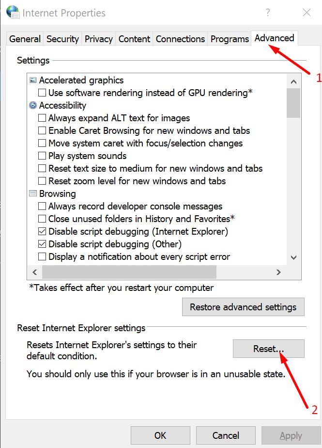Restablecer la ventana de configuración de Internet 10