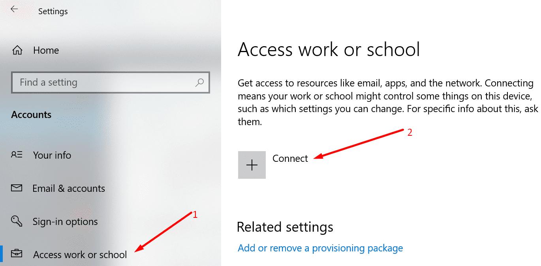 Acceso a cuentas de Windows 10 del trabajo o de la escuela