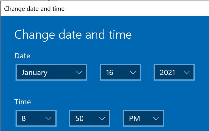 Cambiar la ventana para configurar la fecha y la hora