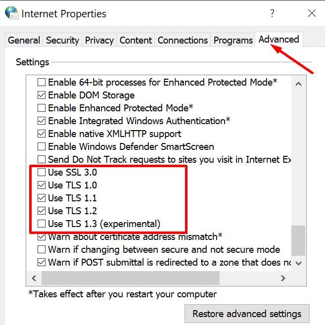 Activar opciones de Internet TLS