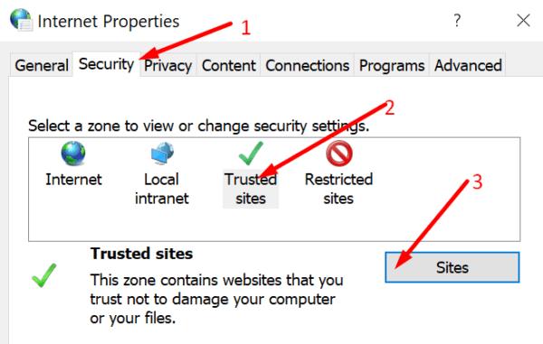 Propiedades de Internet sitios web confiables