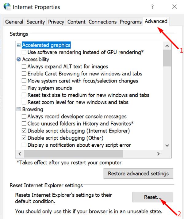 Restablecer las opciones de Internet de Windows 10