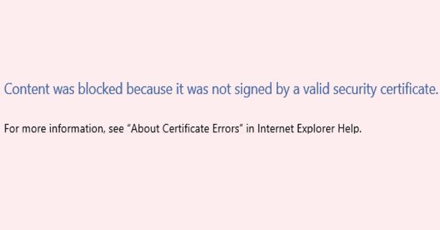 IE / Edge: el contenido fue bloqueado, certificado de seguridad no válido