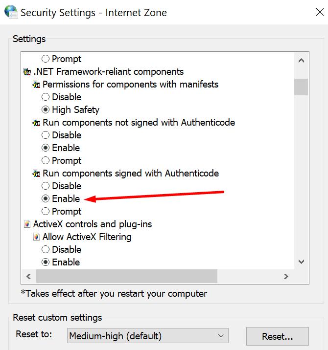 Ejecute componentes firmados con Authenticode