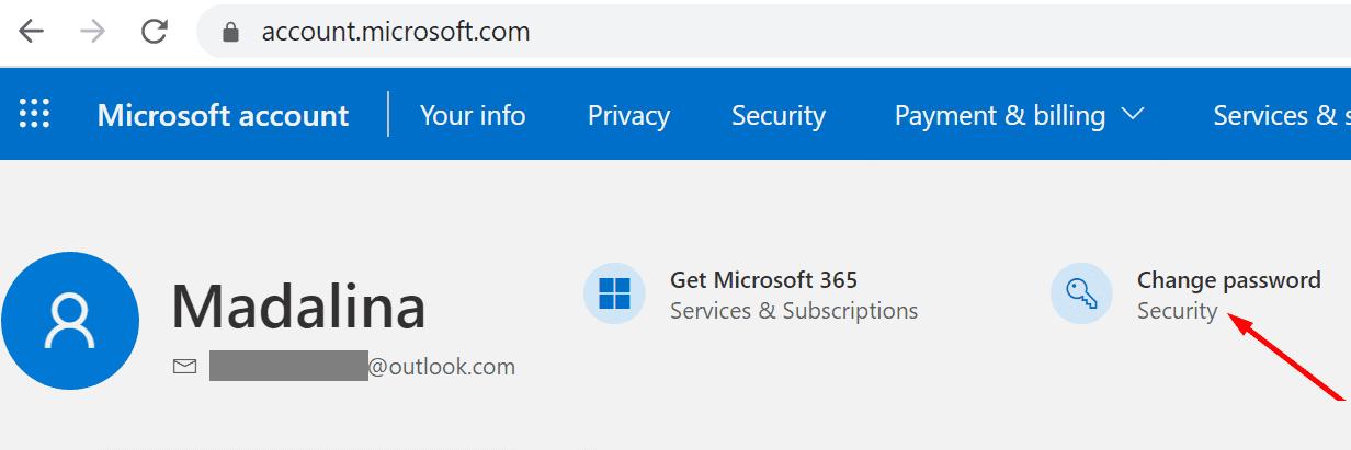 Contraseña para cambiar la cuenta de Microsoft