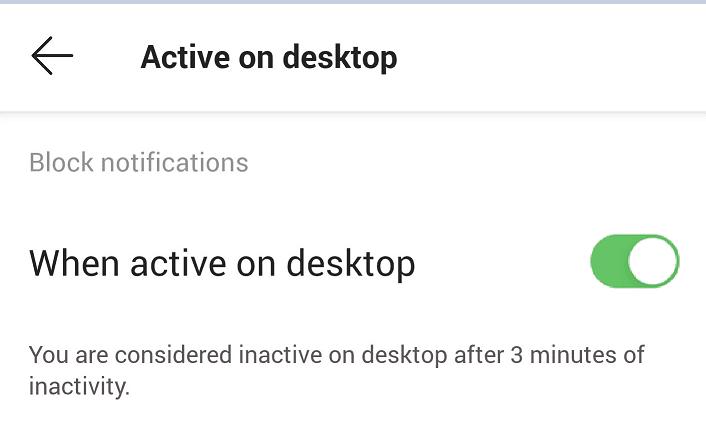 Notificaciones de los equipos de Microsoft cuando están activos en el escritorio