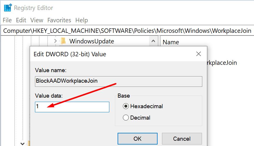 blockAADWorkplaceÚnete a Windows 10
