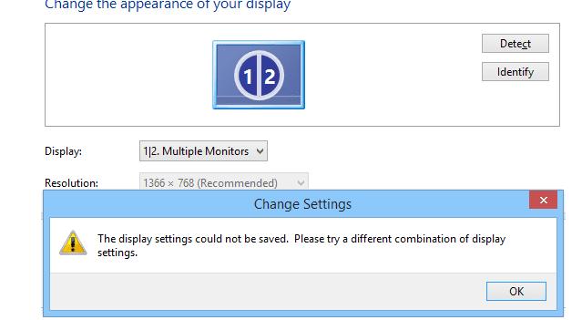 Solución: la configuración de pantalla no se pudo guardar