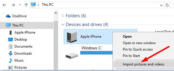 Windows 10 importar fotos y videos iPhone