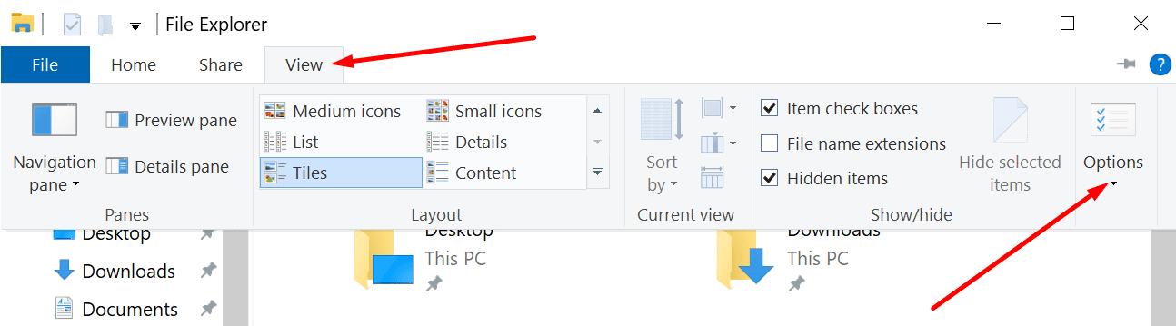 Opciones para ver el explorador de archivos