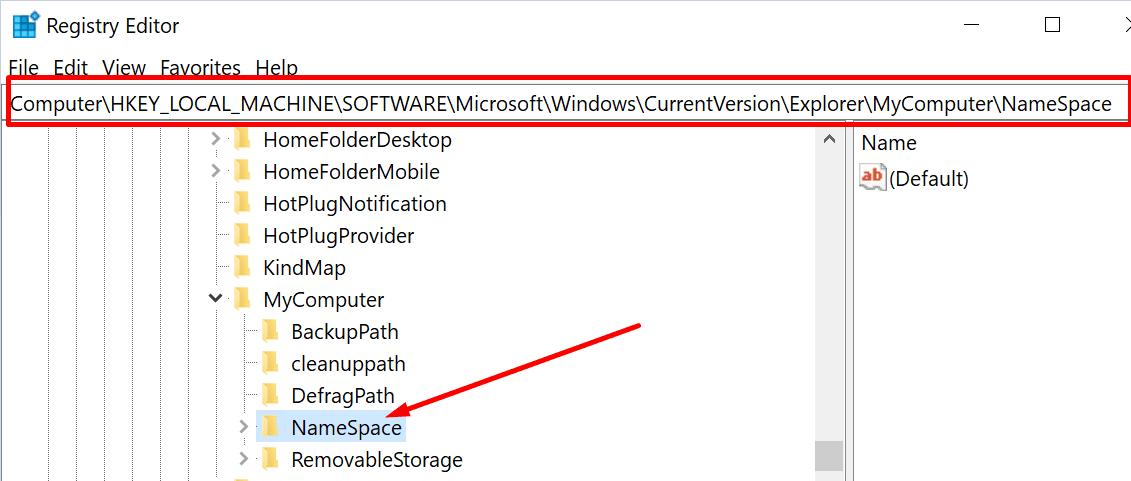 Editor de registro de claves de espacio de nombres Windows 10