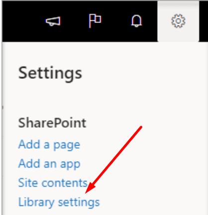 Configuración de la biblioteca de Sharepoint